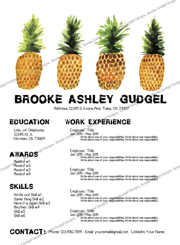 Pineapple Resume Conact Brookegudgel Gmail Com #sorority #rush