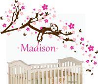 Nursery wall decal sleeping monkey - Blossom Cherry with ...