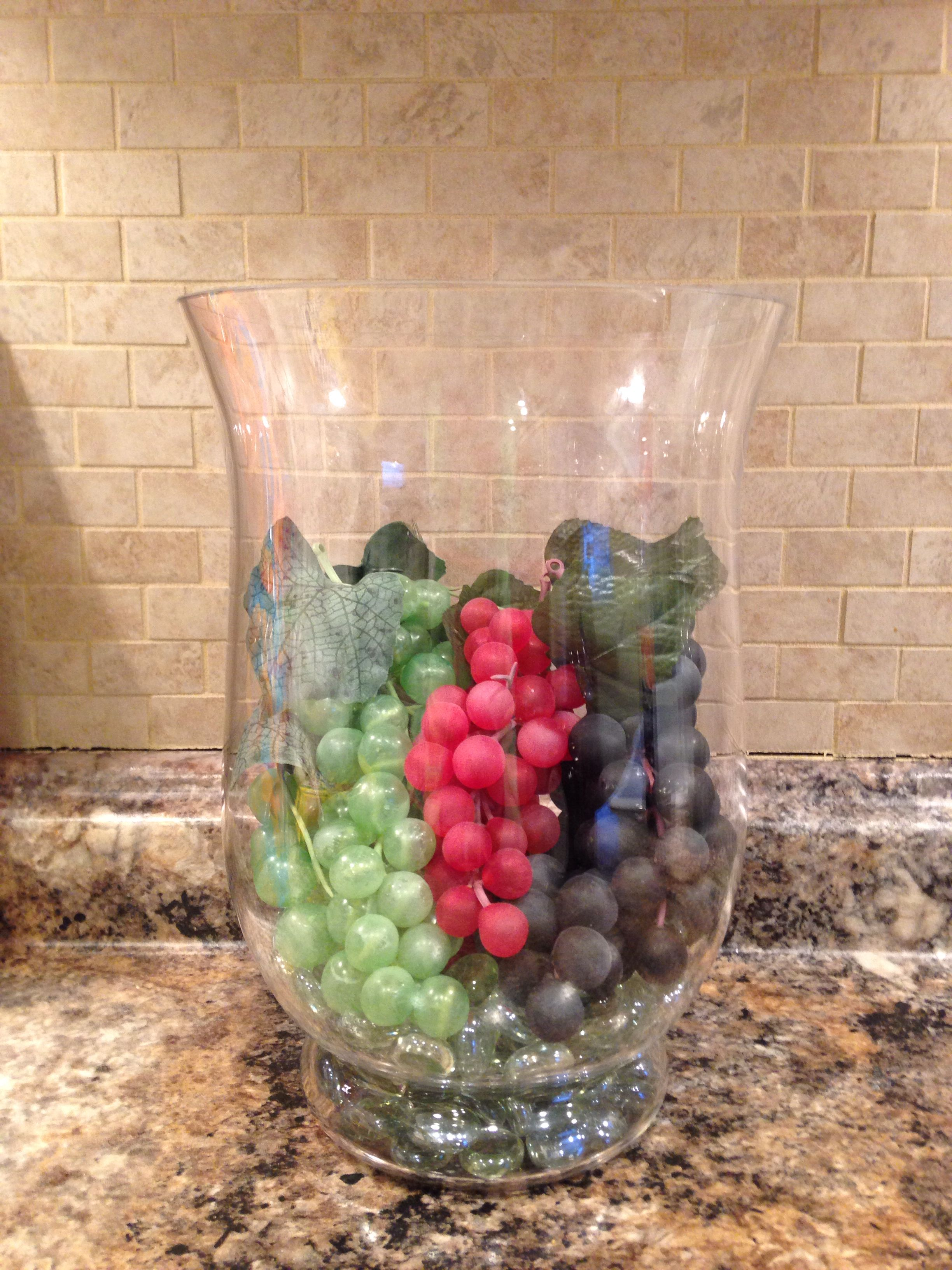 grape decor for kitchen trashcans cheap dollar store grapes and a hurricane great