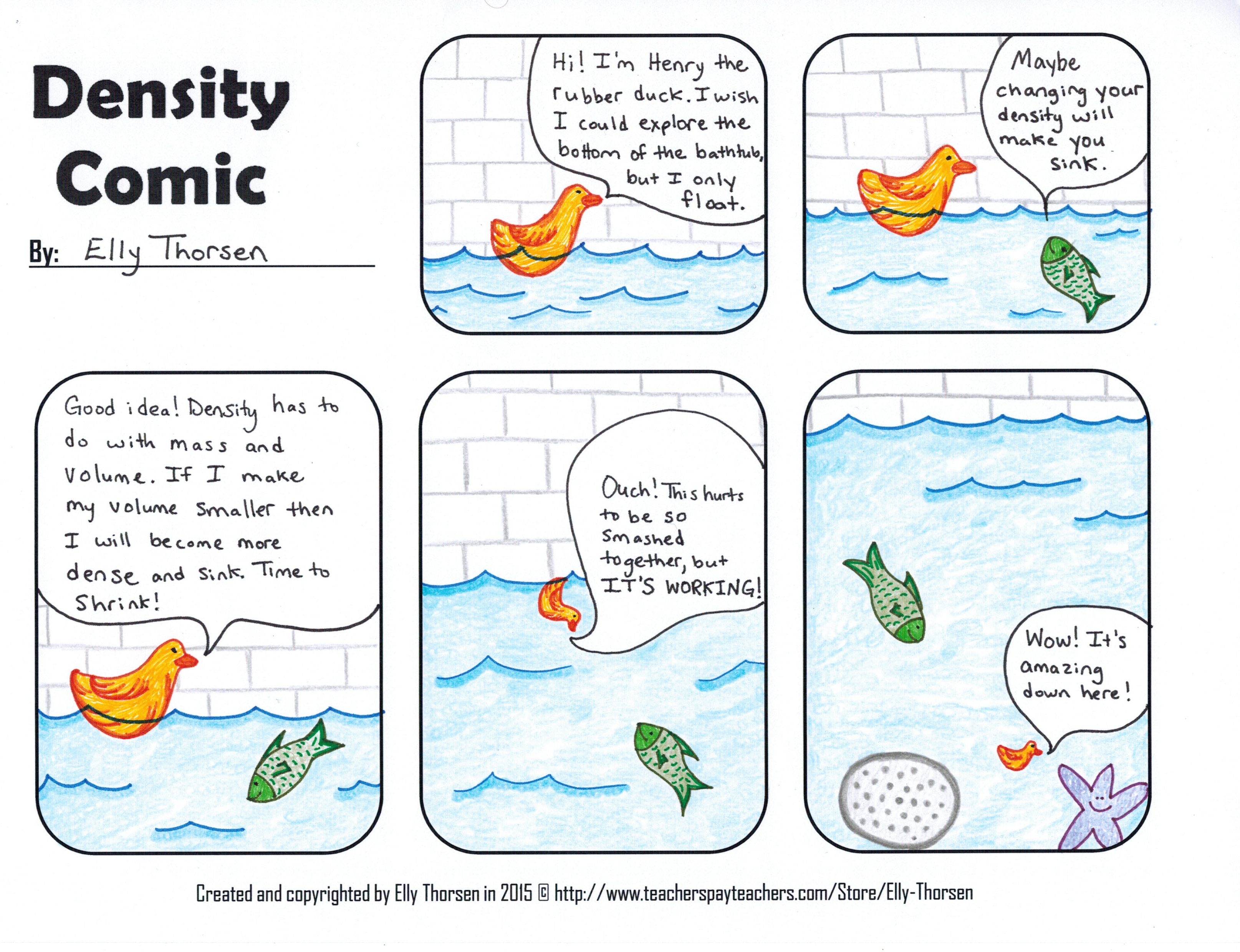 Fun Density Comic For Middle School Science