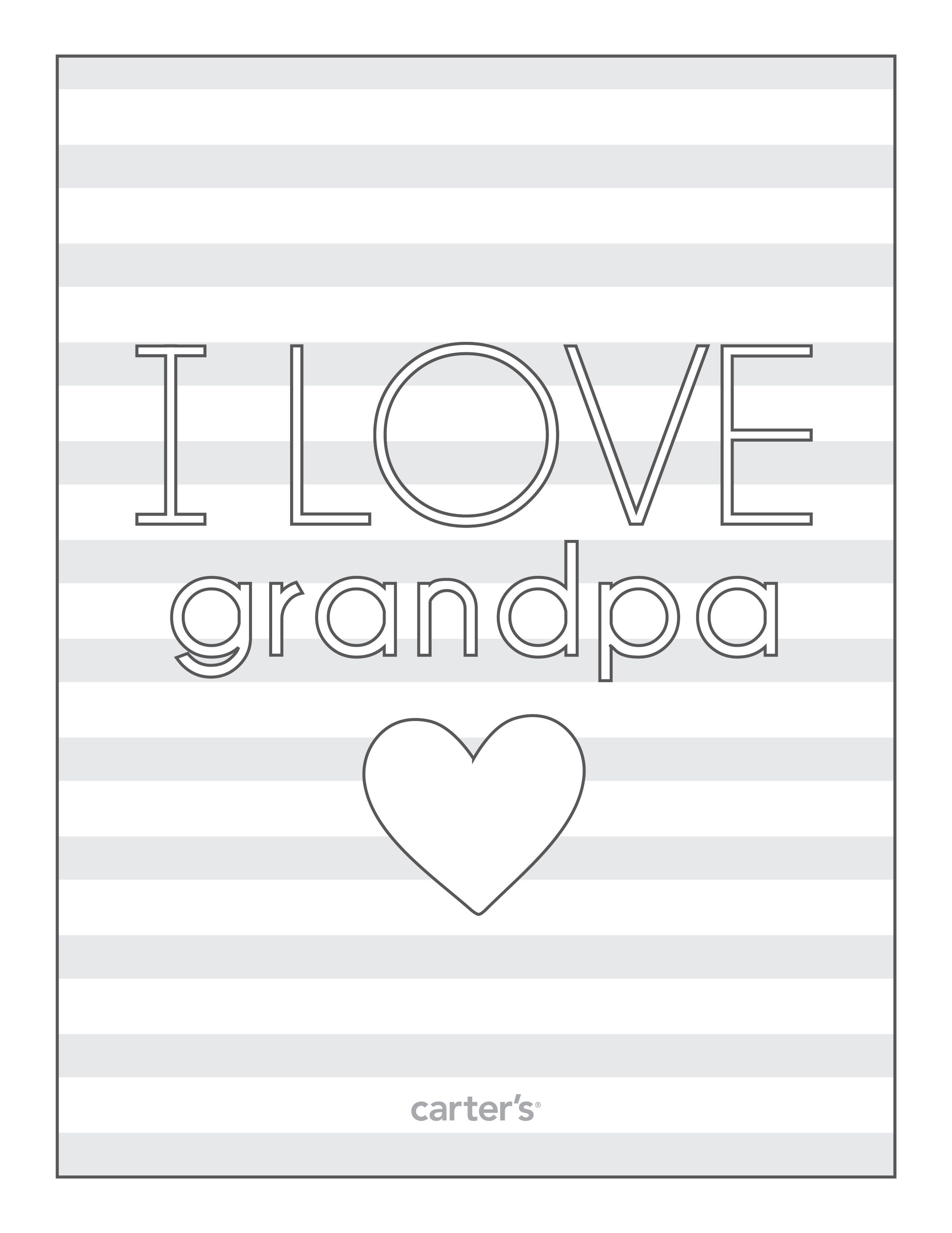 I Love Grandpa Download Free Grandparent S Day Coloring Pages From Carter S