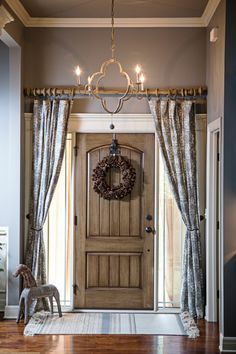 Curtains Over The Front Door Add Privacy And Style Chandelier By