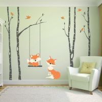 Baby Fox Orange 4 Birch Trees Wall Decal Forest Woodland ...
