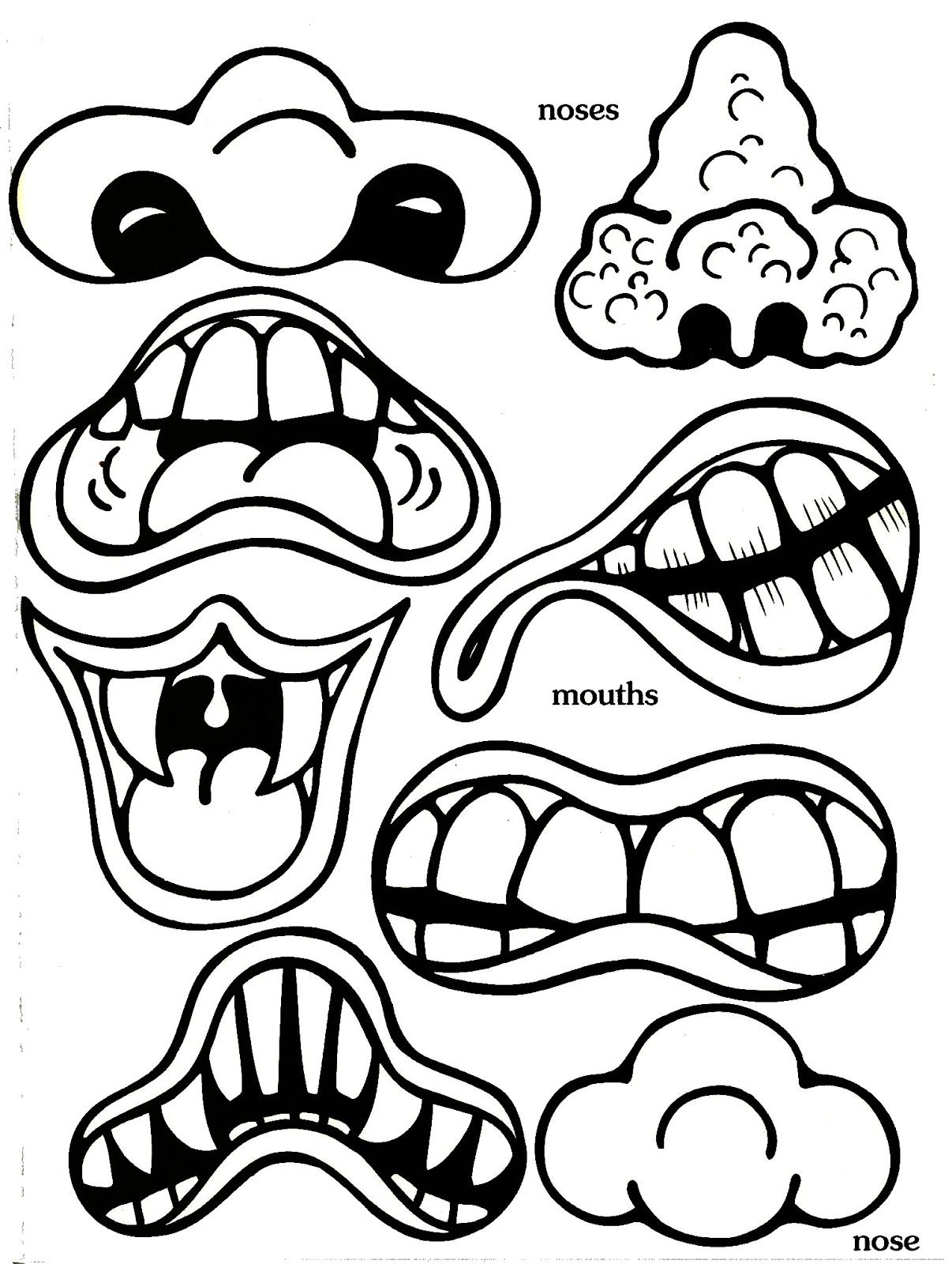 Printable Monster Face Cut Outs