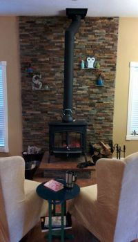 Wood Stove - stacked ledge stone wall with slate shelves ...