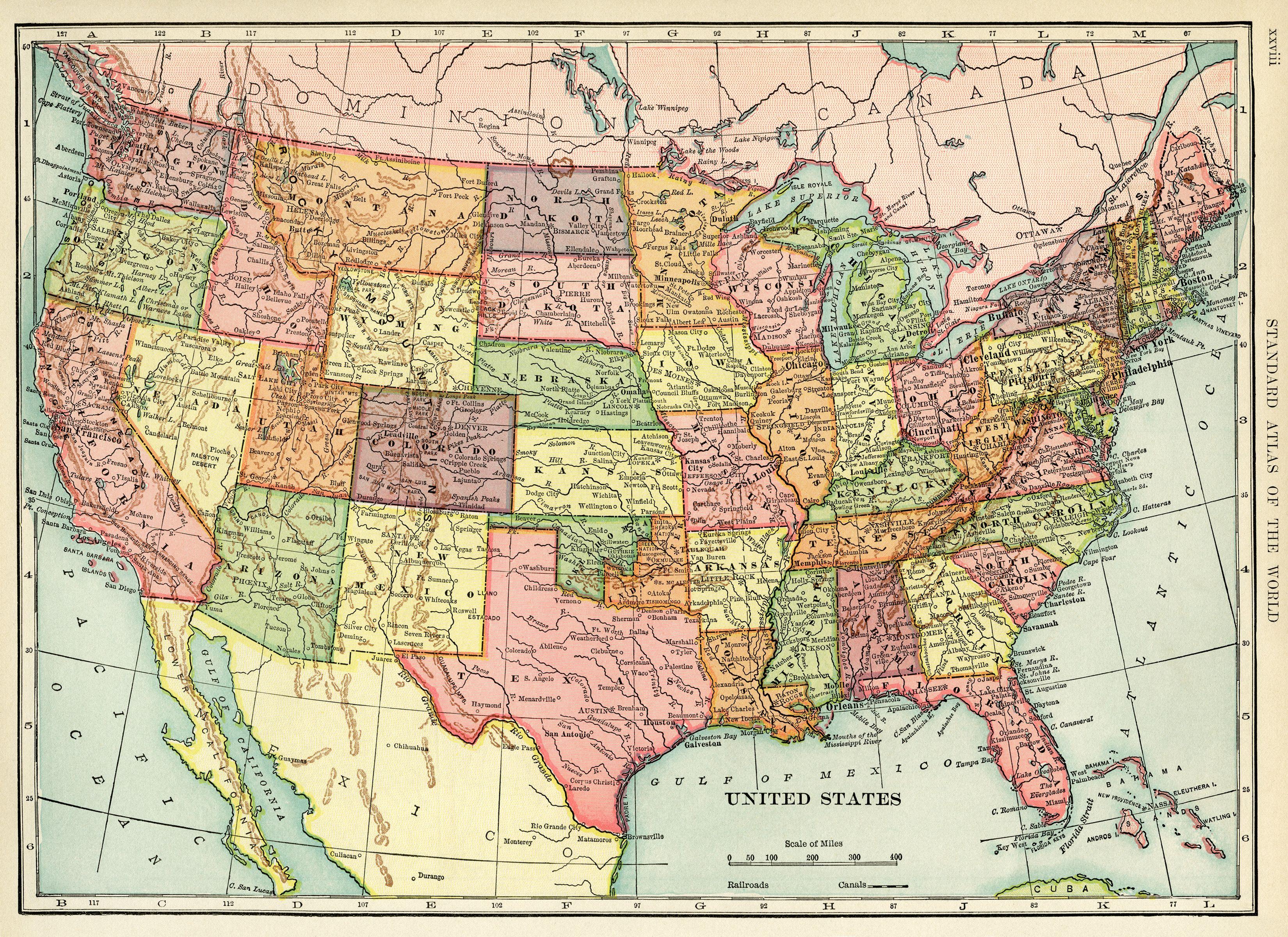 United States Map Vintage Map Download Antique Map