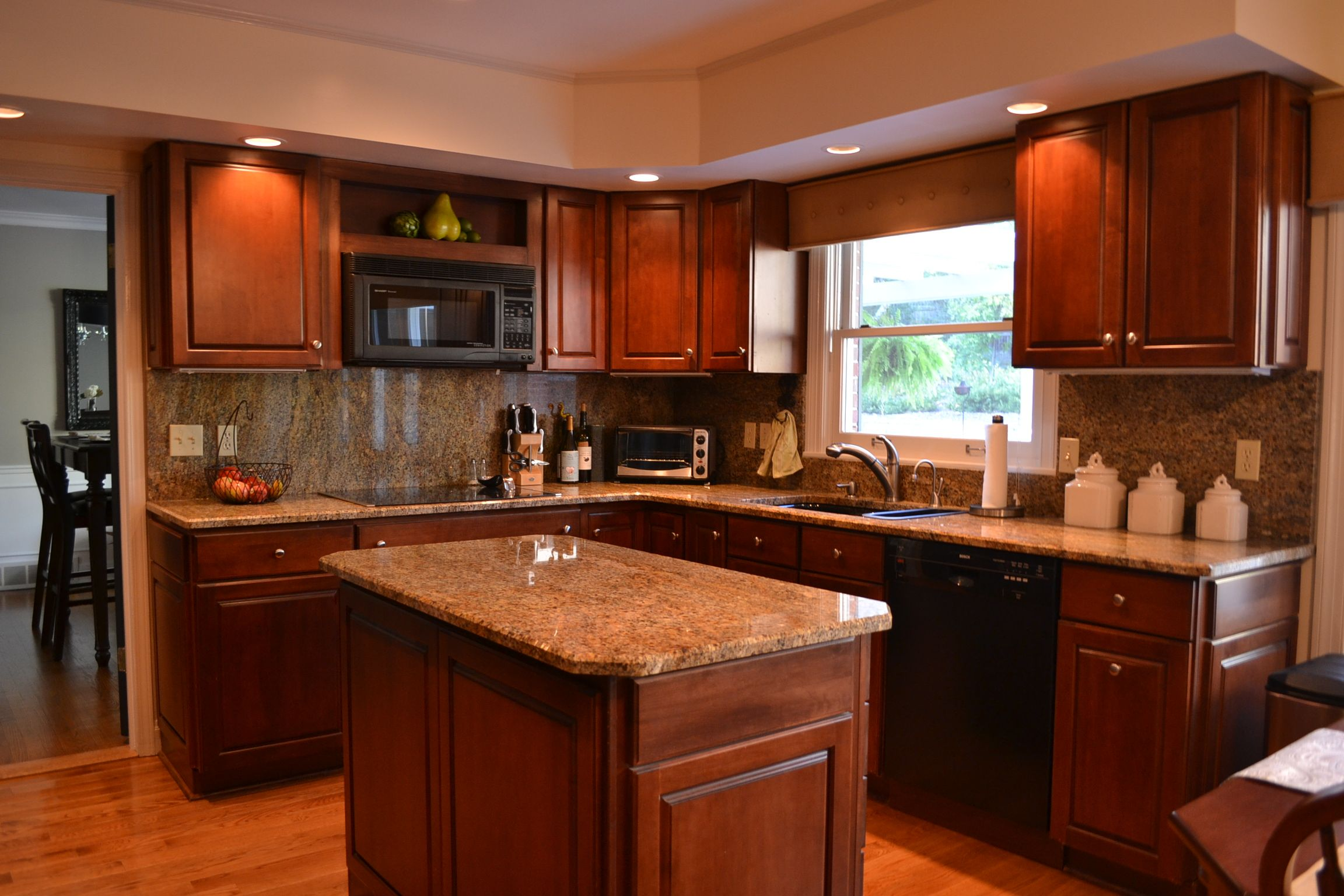 cherry kitchen cabinets double sink for modern island