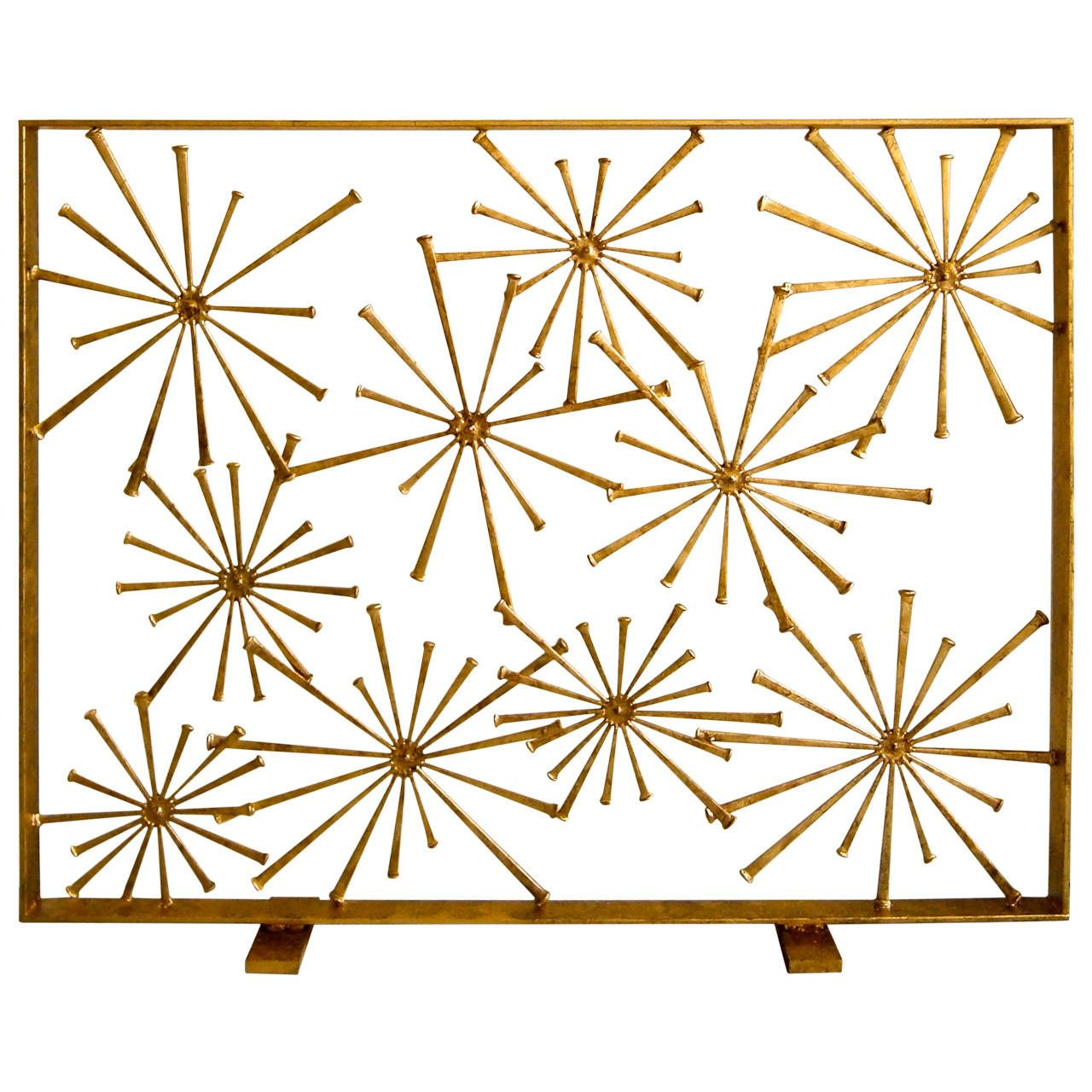 Gilded Steel Studio Made Starburst Fire Screen By American