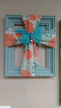 Cross made from a old picture frame and burlap | Craft ...