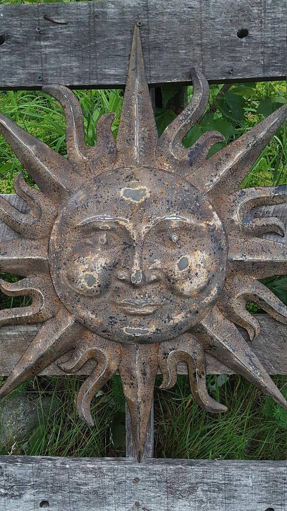 Metal garden decor sun wall art indoor outdoor also rh pinterest
