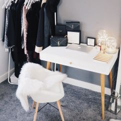 Sheepskin Rug On Chair Kitchen Covers Dunelm Blogger Office Space With La Redoute Desk