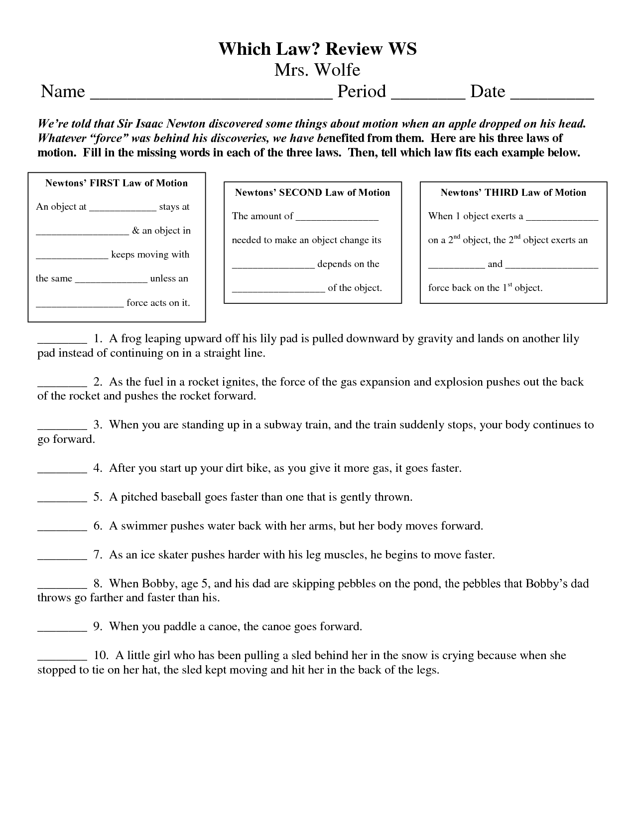 3 Laws Of Motion Worksheets