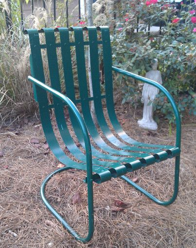 my great grandpa used to have these patio chairs yes i remember them i always thought they were cool repurpose pinterest metal lawn chairs vin e
