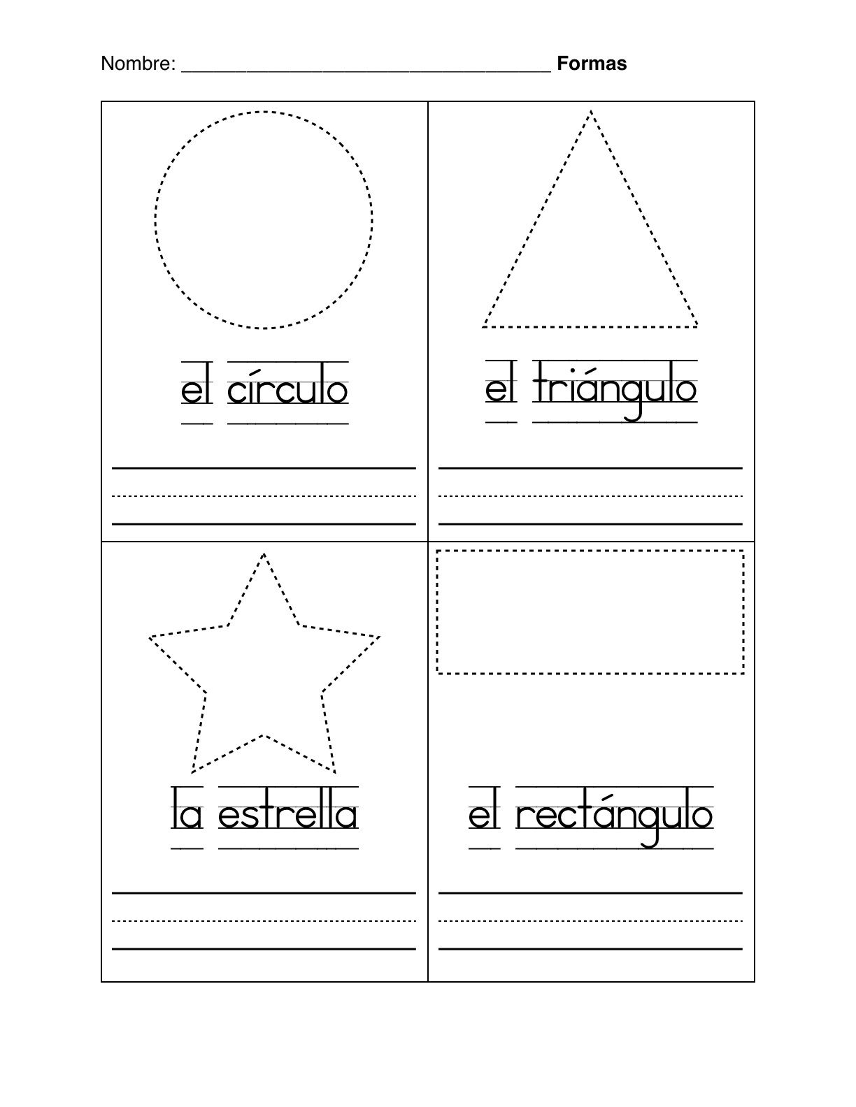Spanish Worksheets For Kindergarten Basic Shapes In Spanish