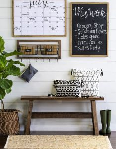 Living room decor rustic farmhouse style command center with wood bench chalkboard and graphic also best images about apartment on pinterest idea decoration rh