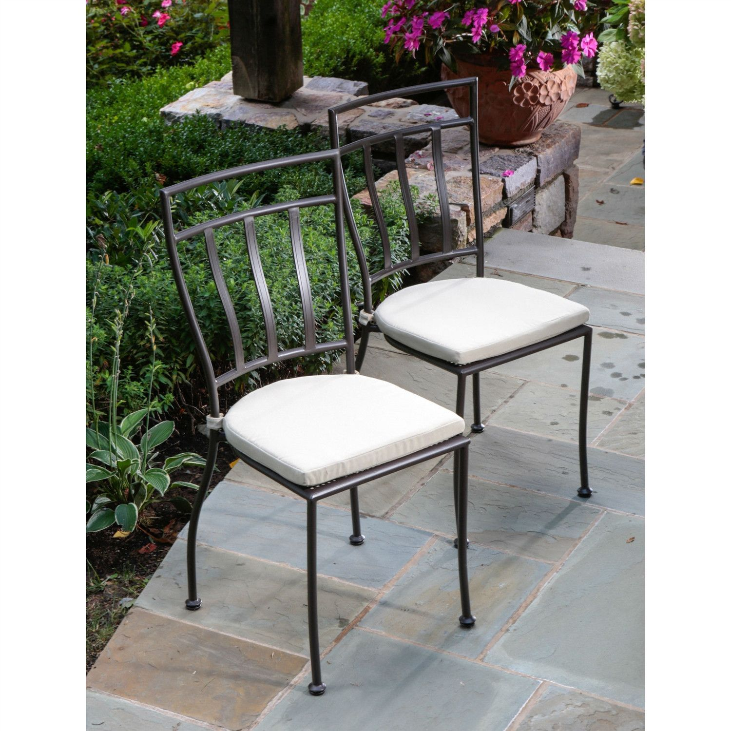 Iron Patio Chairs Set Of 2 Wrought Iron Outdoor Patio Bistro Chairs With
