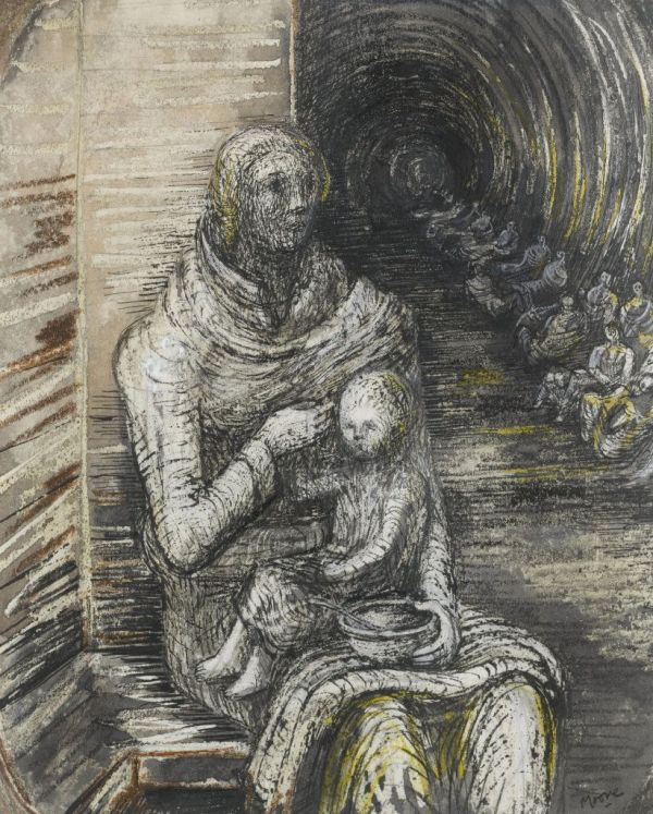 Henry Moore Shelter Drawing Seated Mother And Child