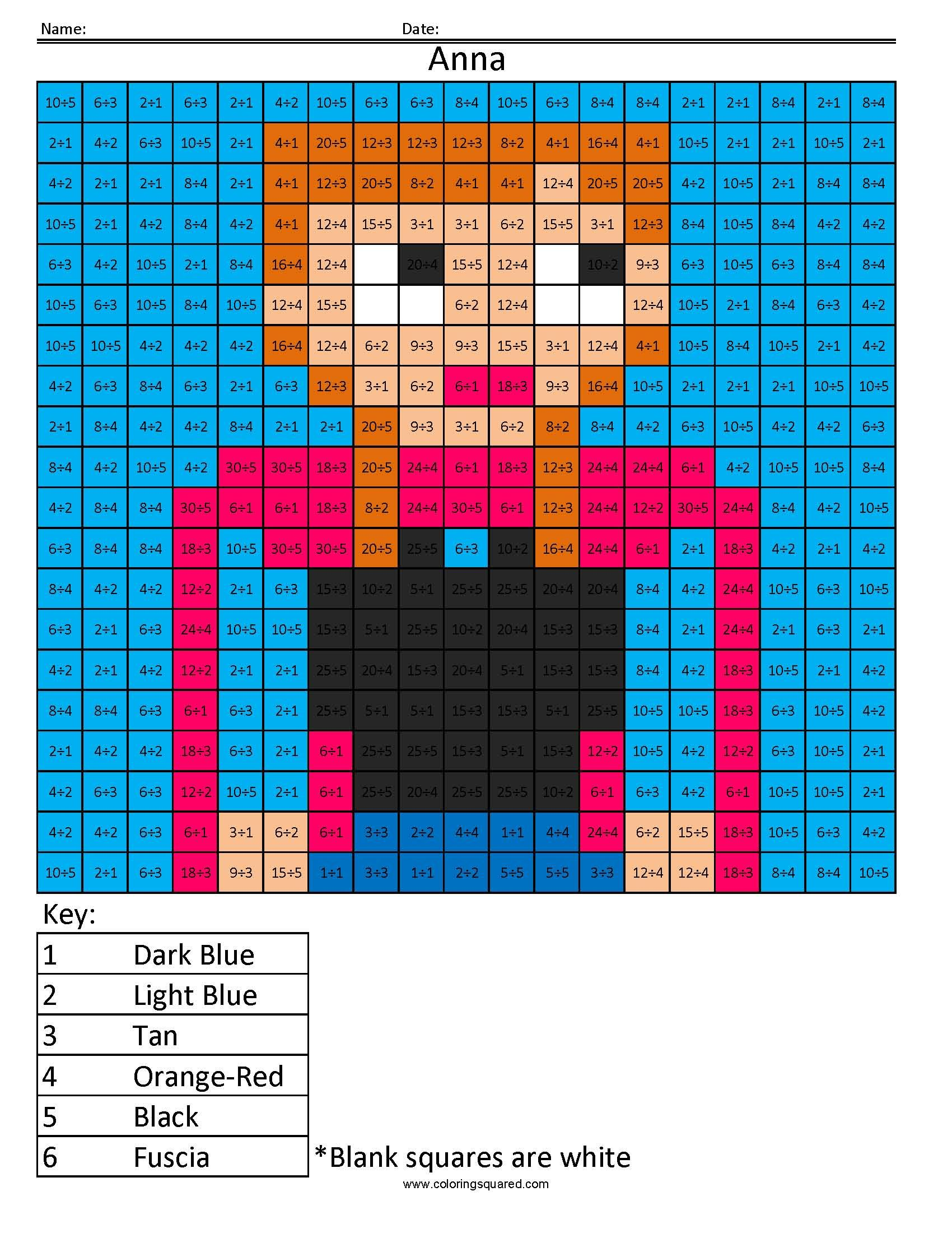 Anna From Frozen Disney Princess Multiplication And