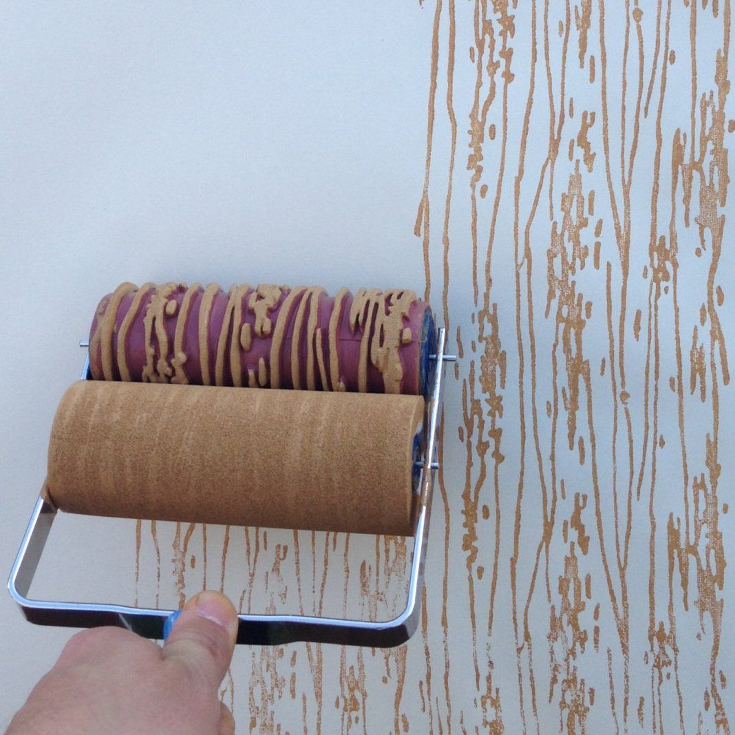 Wood Grain Patterned Paint Roller creates a beautiful