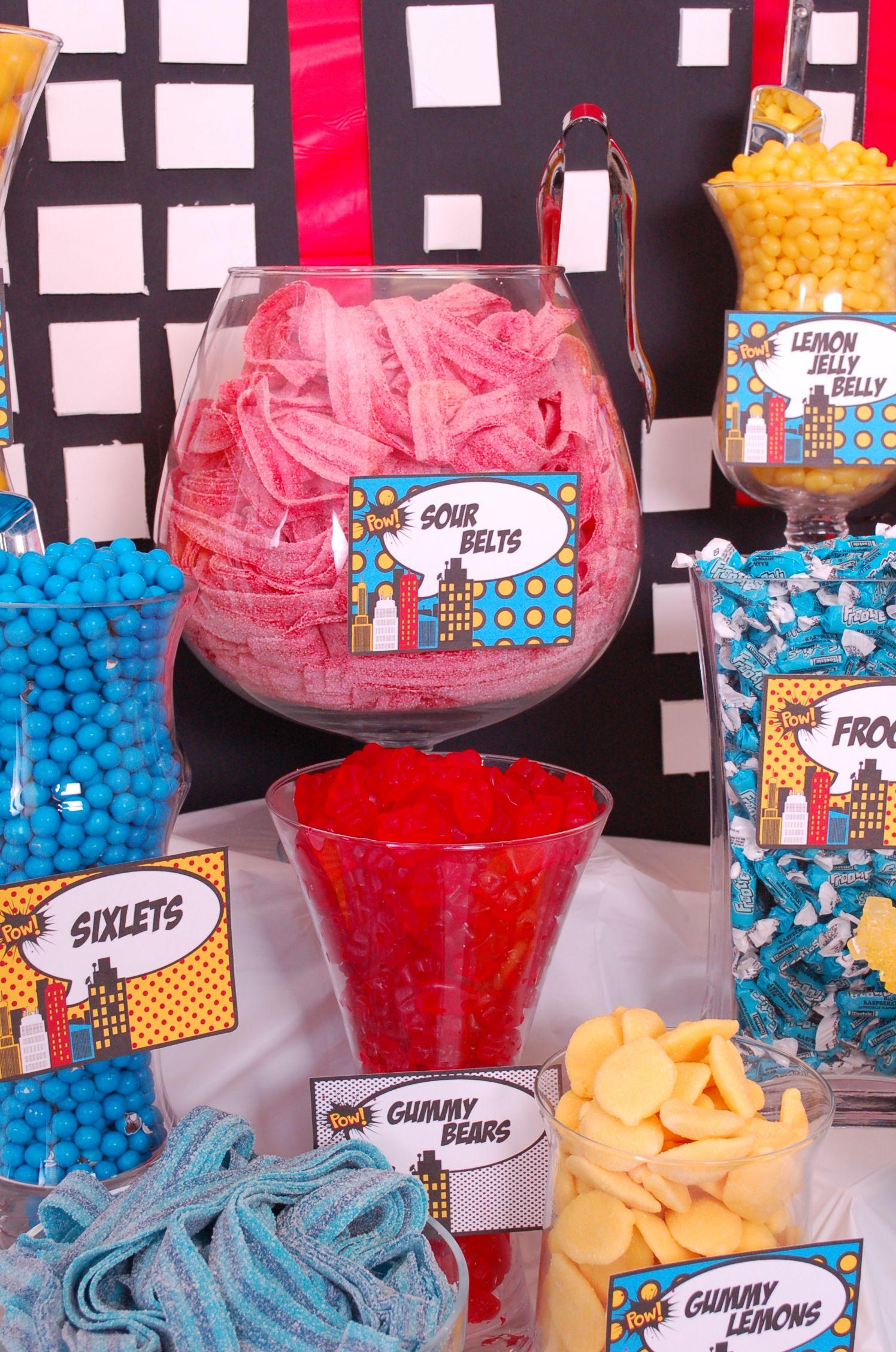Superhero Candy Buffet Sour Belts Superhero Candy Buffet Pinterest Superhero Buffet And