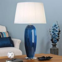 Table Lamp Charming Blue Glass Lamp: Blue Table Lamps  ...