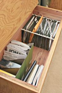 Tension rods to mod a drawer into file cabinet via de Jong ...