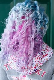 blue purple pastel curly dyed hair