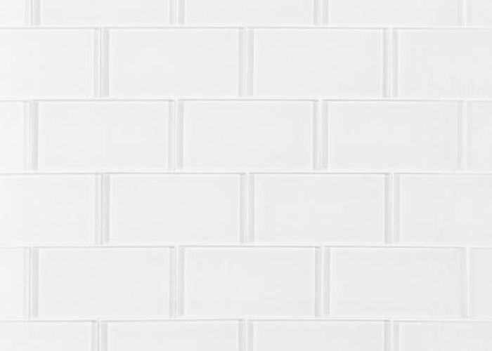 Pure snow white shiny glass tile in  in floor also