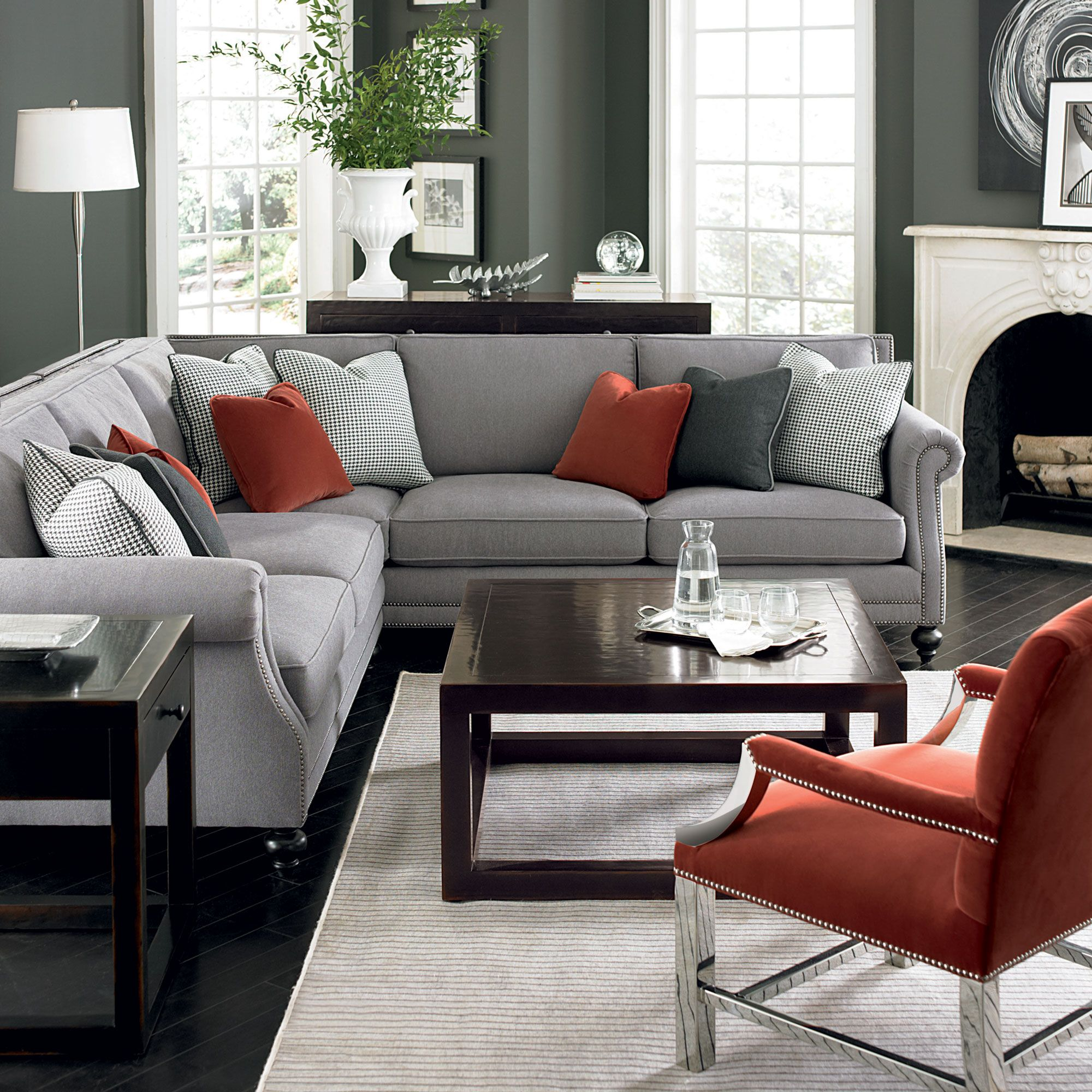 grey sofa with silver nailheads chair walmart sectional gray velvet