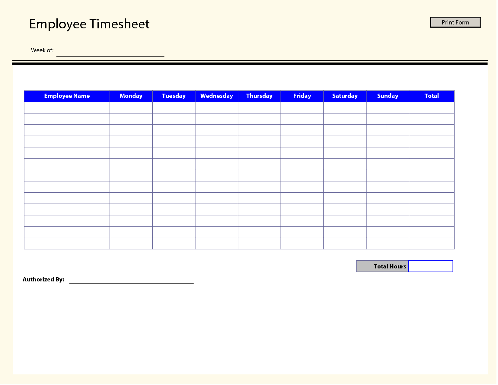 Printable Time Sheets