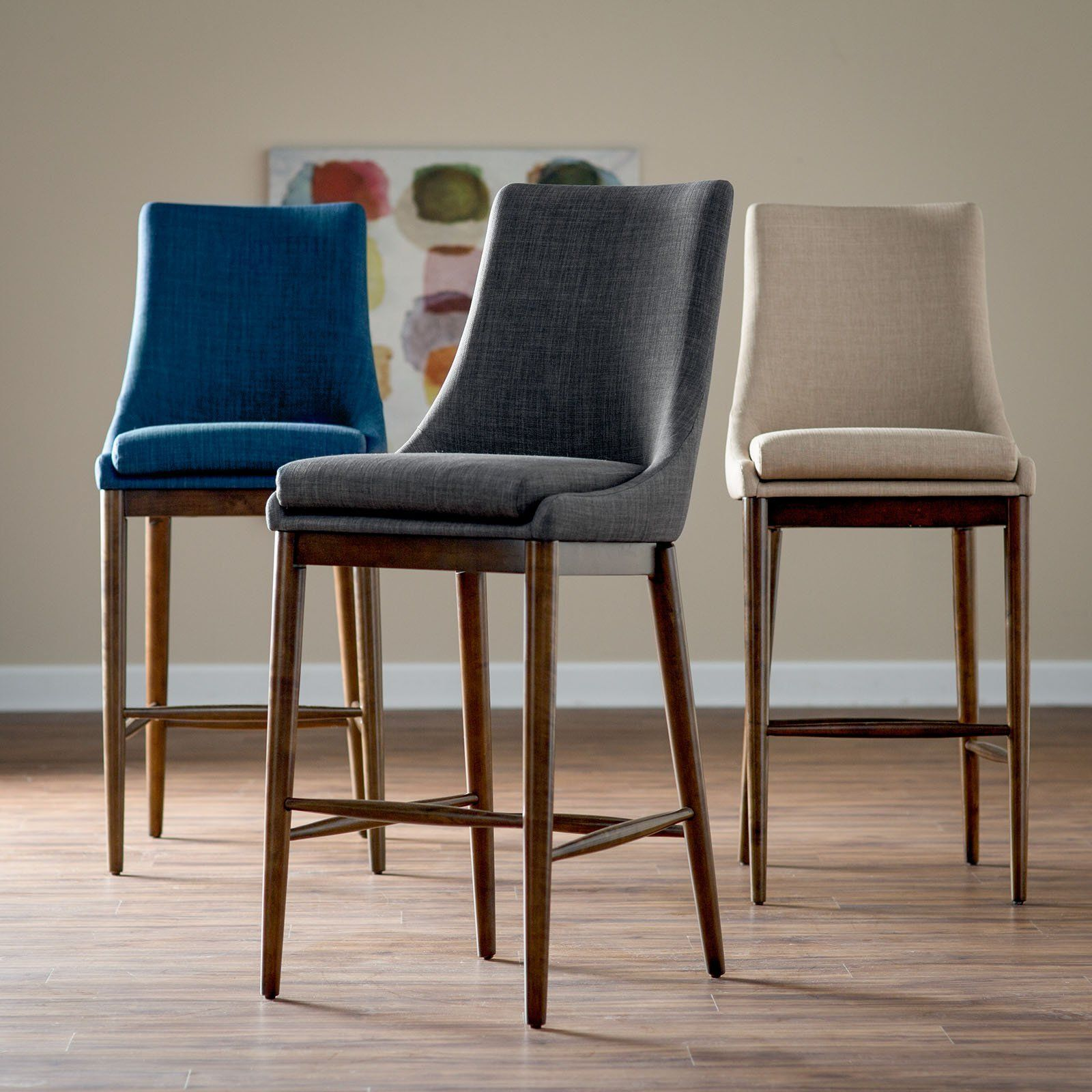 Upholstered Bar Chairs Belham Living Carter Mid Century Modern Upholstered Bar