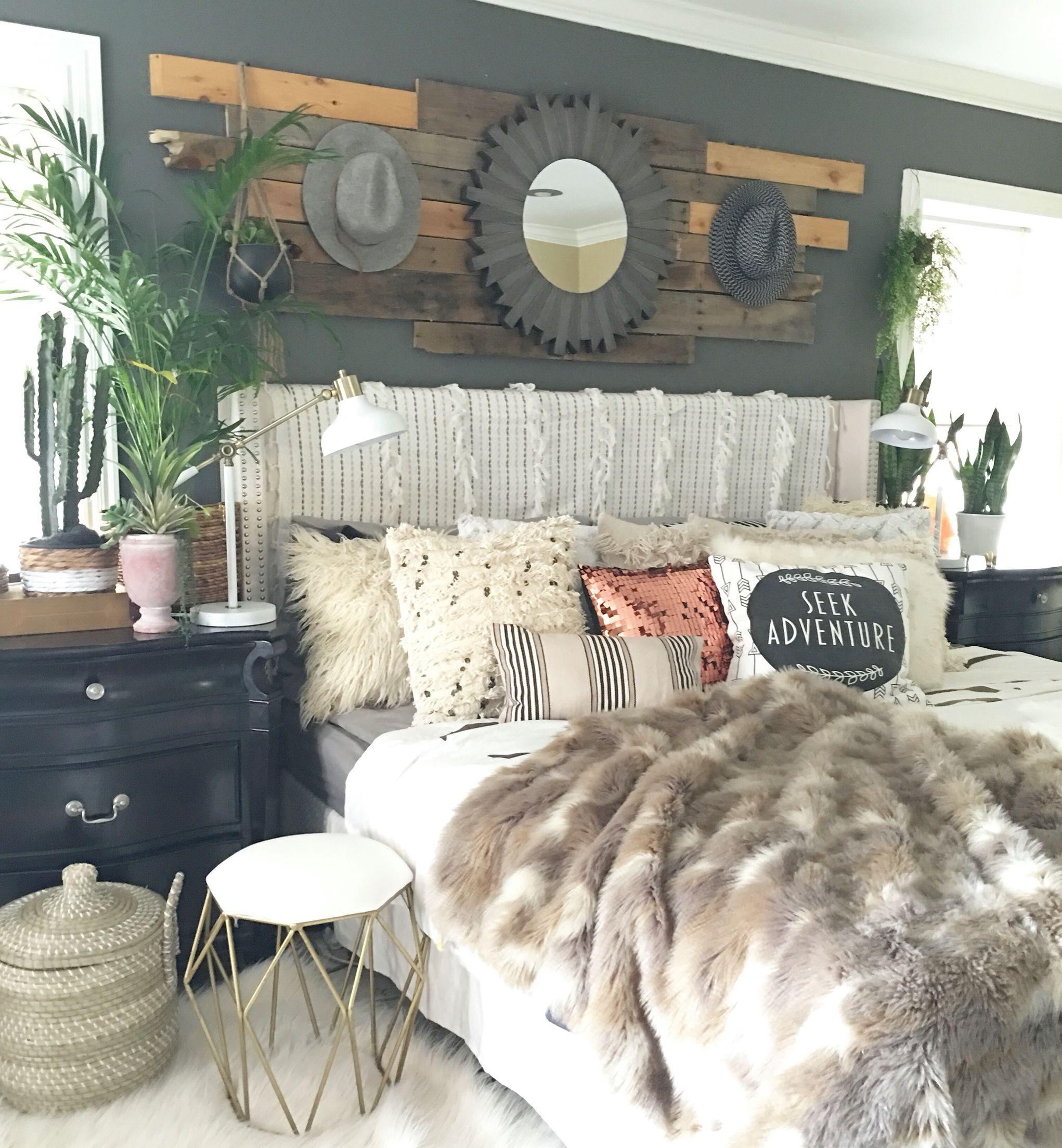 Boho Glam Rustic Bedroom