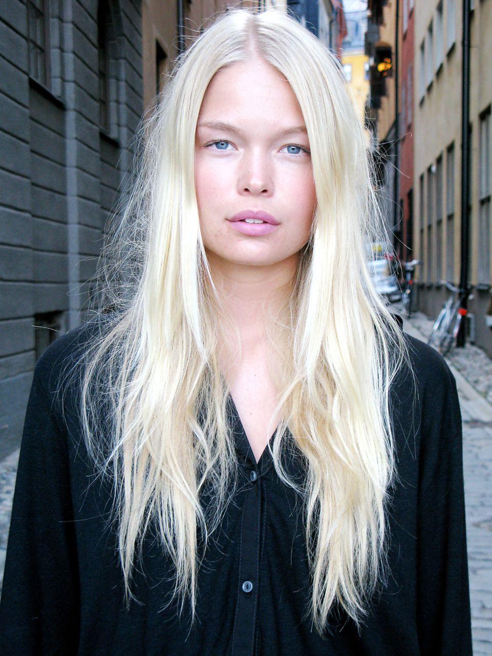 platinum blonde hair fashion model off duty  Platinum