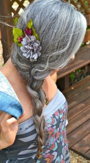 long gray hair in braid