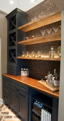 Floating Bar Shelves with Cabinet