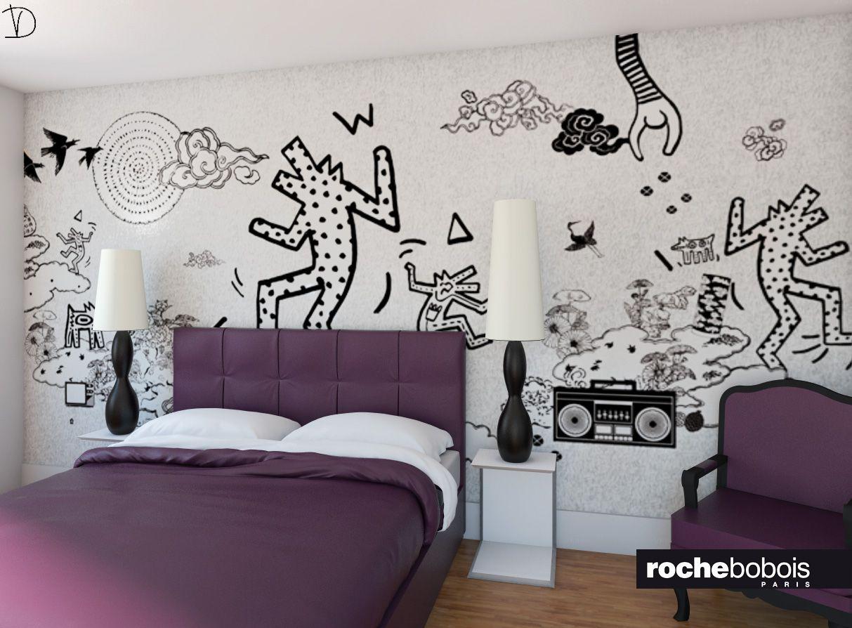 Camera da letto con carta da parati di Keith Haring versione in bordeaux  Render per