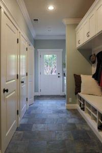 Slate flooring, wall color, built-ins, moulding | Home ...