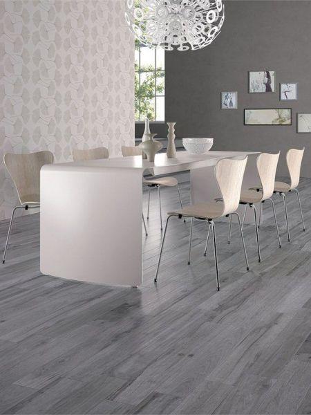gray porcelain tile living room Rossana floor tiles, half step installation Wall/floor tiles with wood effect SOLERAS by ABK