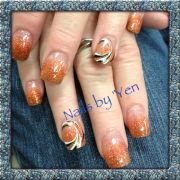 golden orange and brown fade ombre