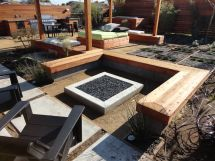 Custom Concrete Seating Bench Gas Firepit