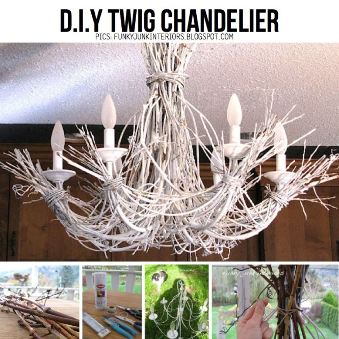 Thrift Display Ideas Twigs And A Chandelier Is Great Diy Combo
