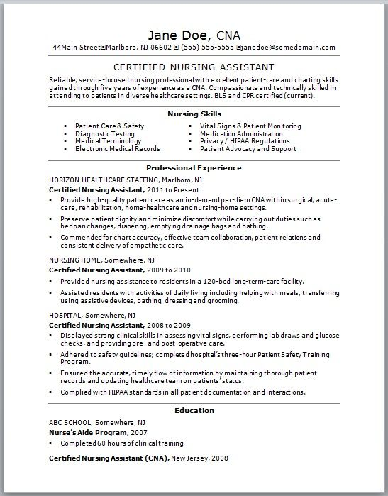 Best Resume CNA No Experience Jobresumesample Com