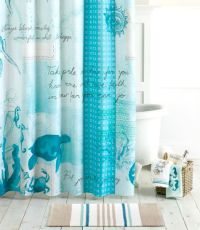 Blue Ocean Theme Bathroom Collection with Shower Curtain ...