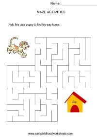 Kindergarten Maze Worksheets