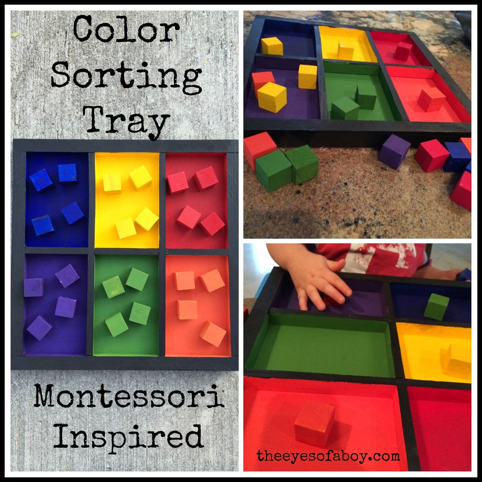 Montessori Inspired Wooden Color Sorting Tray