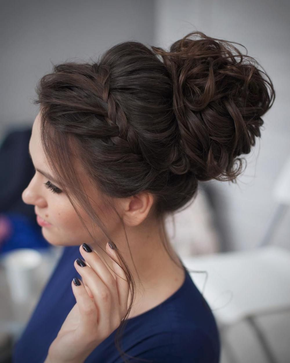 Messy Curled Updo With A Braid Cute Stuff Pinterest Updo