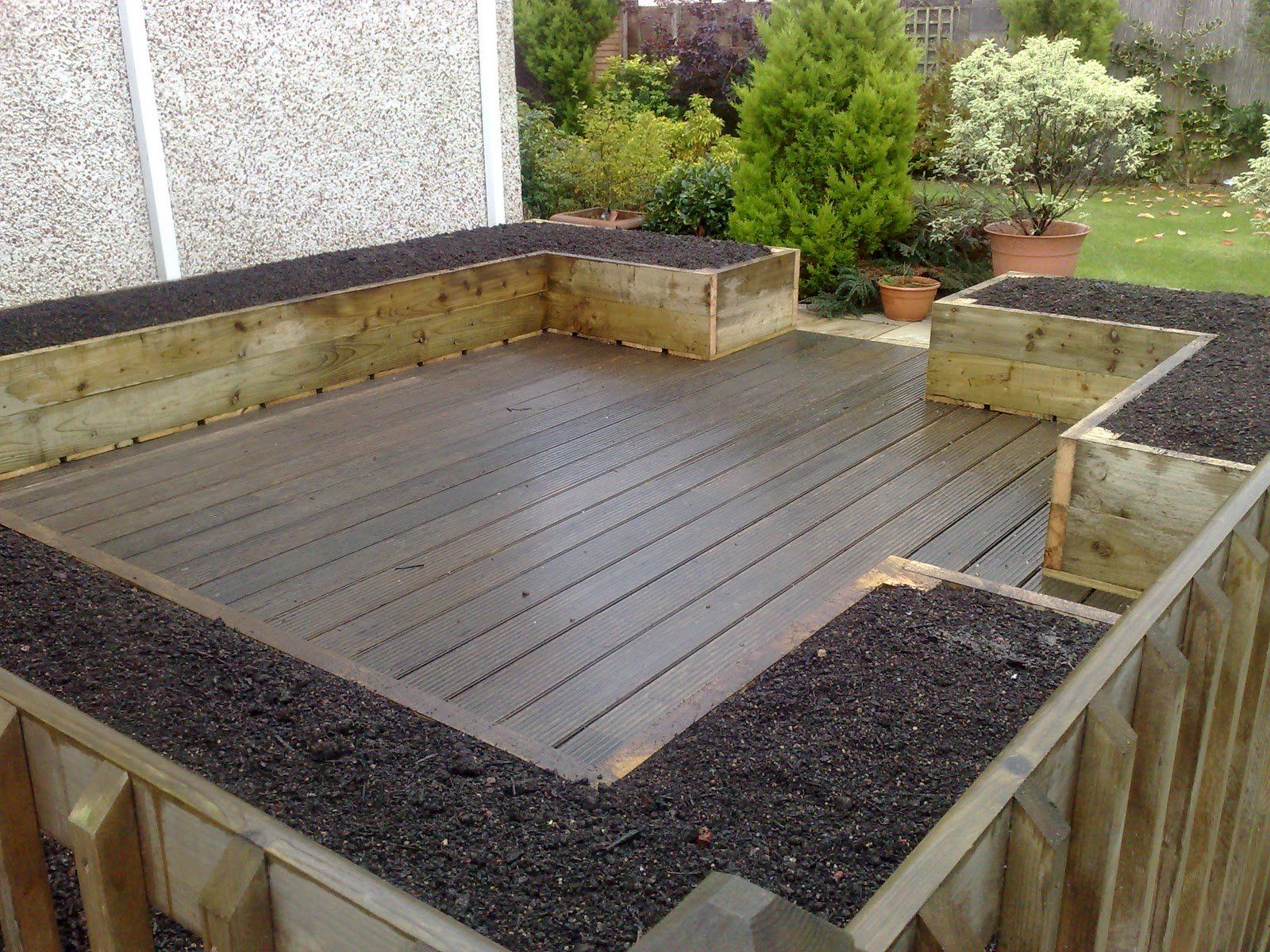 Garden And Patio Deck And Patio With Hardwood Floor Tiles And