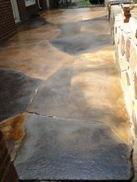 """Cracked patio concrete stain - Existing cracks as """"mortar ..."""