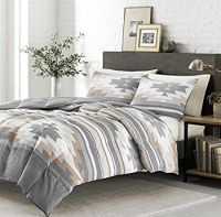 3 Piece Grey Tan White Southwest Comforter King Set ...