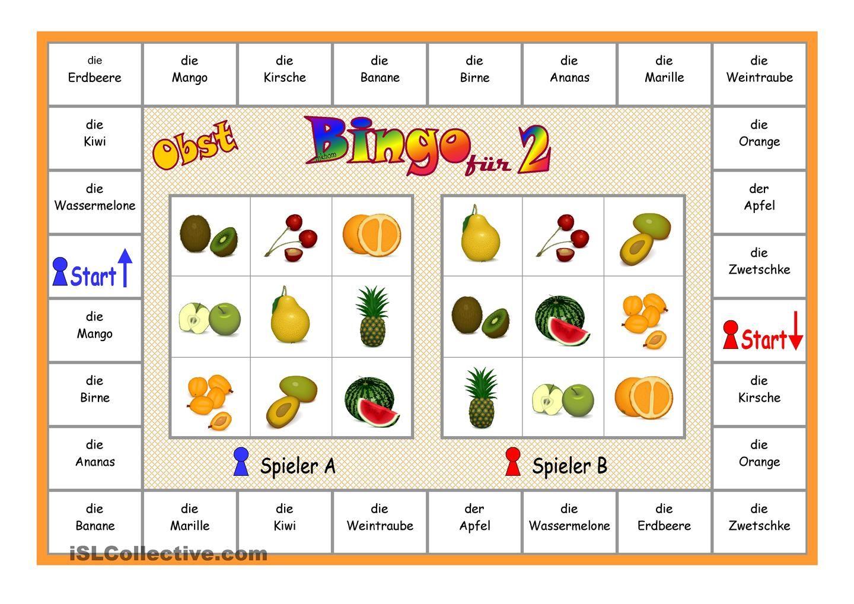 Bingo Fur 2 Spieler Obst Von Islcollective Kostenlos